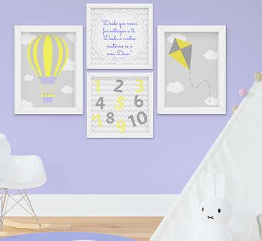 Quadro Infantil Bebê Menino Balão Pipa Kit 4 Peças