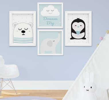 Quadrinho Infantil Bebê Menino Elefante Urso Pinguim Nuvem Kit 4 Peças