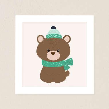 Quadro Infantil Bichinhos da Floresta Urso