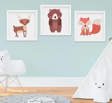Quadro Infantil Quarto Bebê Bichos da Floresta Raposa Urso Cervo Kit 3 Peças
