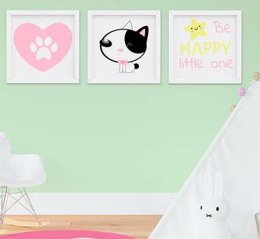 Kit Quadro Infantil Bebê Menina Cachorrinha Rosa 3 Peças