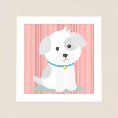 Quadro Infantil Cachorrinho Vermelho
