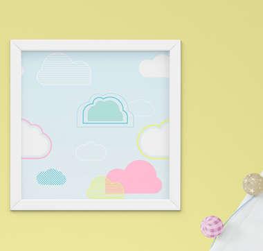 Quadro Infantil Quarto Bebê Menina Céu Nuvens