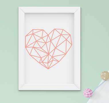 Quadro Decorativo Infantil Bebê Menina Coração Geométrico