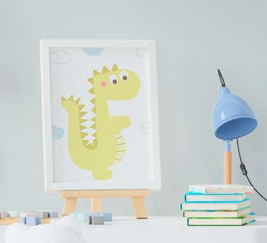 Quadro Infantil Bebê Menino Dinossauro Amarelo