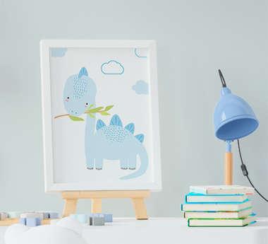 Quadrinho Infantil Bebê Menino Dinossauro Azul