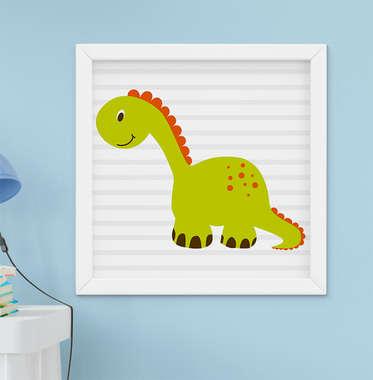 Quadro Bebê Infantil Menino Dinossauro Verde