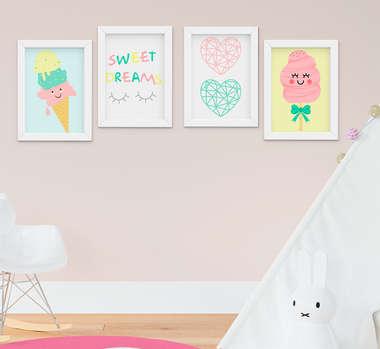 Quadro Infantil Quarto Bebê Menina Doces Sweet Dream Kit 4 Peças