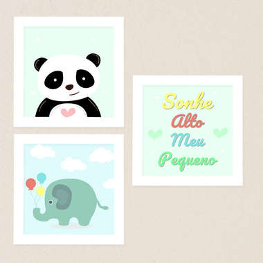 Quadro Infantil Elefante e Panda Kit 3 Peças