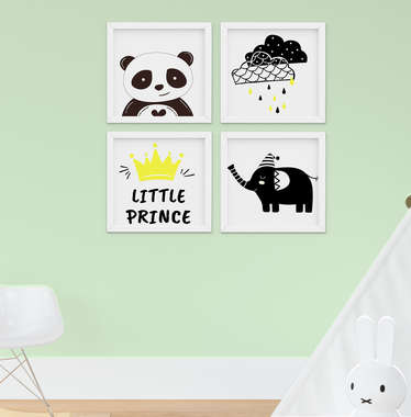 Quadro Infantil Quarto Bebê Menino Elefante e Panda Kit 4 Peças