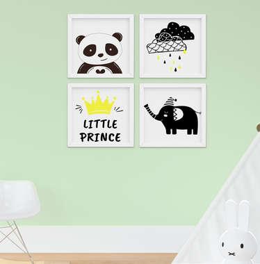 Quadro Infantil Elefante e Panda Kit 4 Peças