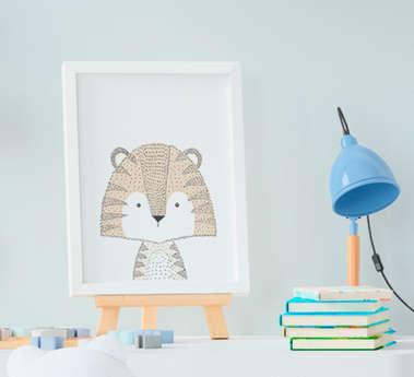 Quadrinho Infantil Bebê Menino Menina Escandinavo Tigre