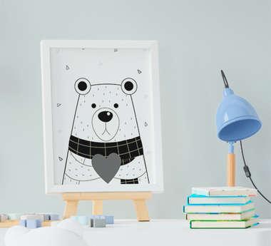 Quadro Infantil Escandinavo Urso Coração Preto e Branco