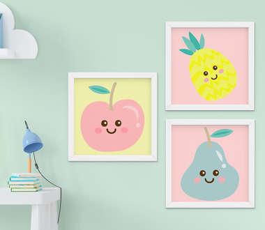 Quadro Infantil Quarto Bebê Menina Frutas Kit 3 Peças