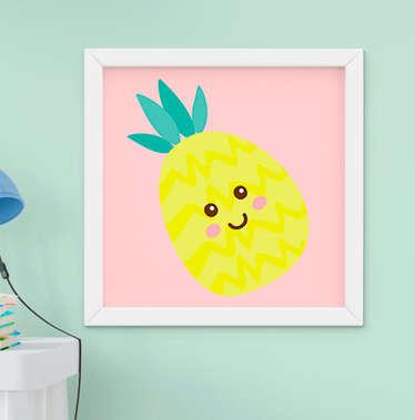 Quadro Decorativo Infantil Bebê Menina Frutinha Abacaxi