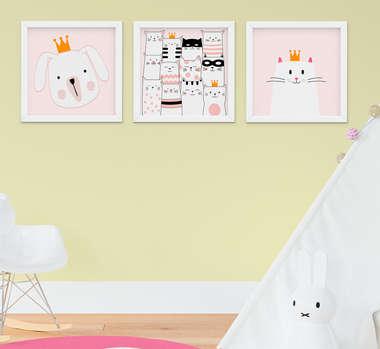 Quadro Decorativo Infantil Bebê Menina Gatinhos Kit 3 Peças