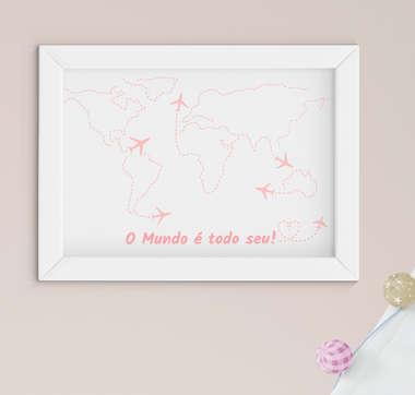 Quadro Bebê Infantil Menina Mapa Mundi