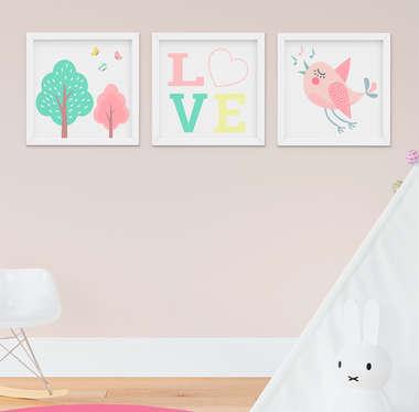 Quadro Decorativo Infantil Bebê Menina Arvore e Passarinho Kit 3 Peças