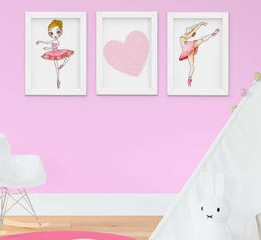 Quadrinho Infantil Bebê Menina Bailarina e Coração Kit 3 Peças