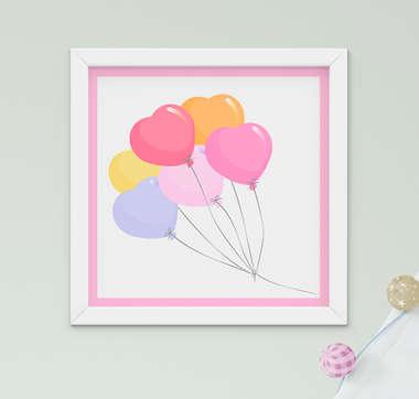 Quadro Decorativo Infantil Bebê Menina Balões