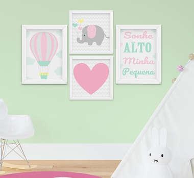 Quadrinho Infantil Bebê Menina Elefantinho Sonhe Alto Kit 4 Peças