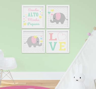 Kit Quadro Infantil Bebê Menina Elefante Sonhe Alto 4 Peças