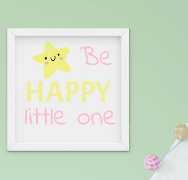 Quadro Decorativo Infantil Bebê Menina Estrelinha Be Happy