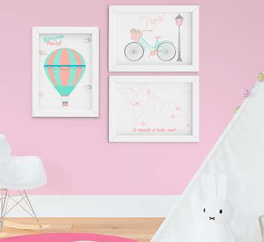 Quadro Infantil Quarto Bebê Menina Paris Kit 3 Peças