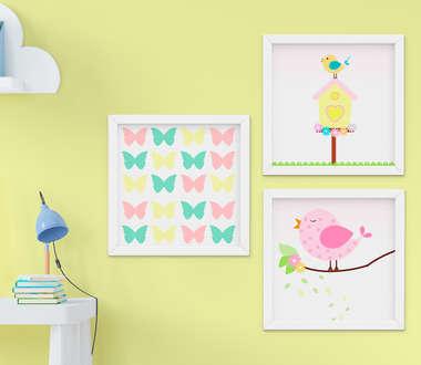Quadro Decorativo Infantil Bebê Menina Passarinho e Borboletas Kit 3 Peças