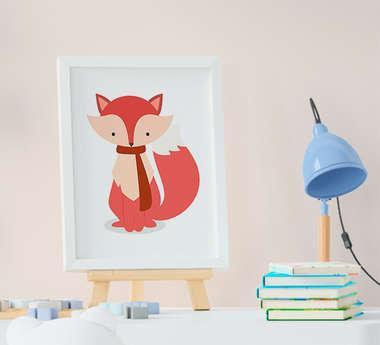 Quadro Decorativo Infantil Bebê Menina Menino Raposa Fox