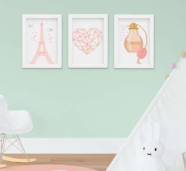 Quadro Infantil Quarto Bebê Menina Torre Eiffel Kit 3 Peças