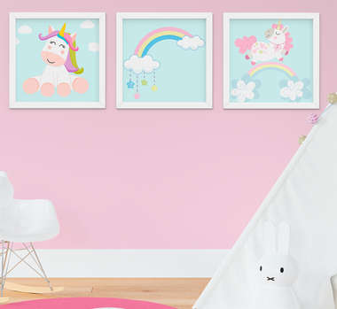 Kit Quadro Infantil Bebê Menina Unicórnio e Arco-íris 3 Peças