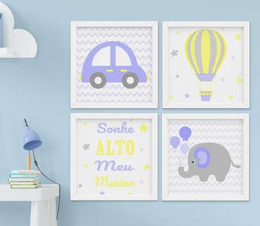Quadro Infantil Menino Elefante Carrinho Sonhe Alto Kit 4 Peças