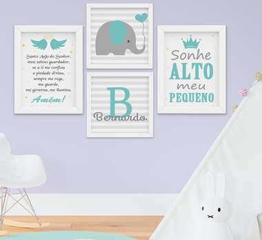 Quadro Infantil Menino Elefante Nome Frase Sonhe Alto Personalizado