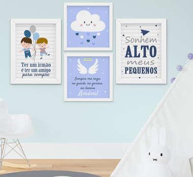 Quadro Infantil Menino Irmãos Nuvem Santo Anjo