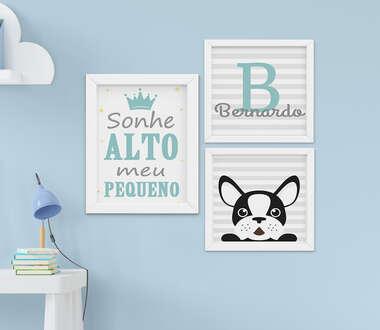 Quadro Infantil Menino Nome Cachorrinho Sonhe Alto Personalizado