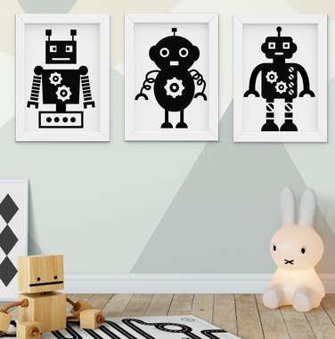 Quadro Decorativo Infantil Bebê Menino Robô Preto e Branco Kit 3 Peças