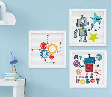 Kit Quadro Infantil Bebê Menino Robô e Engrenagem 3 Peças
