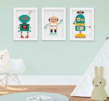 Quadro Decorativo Infantil Bebê Menino Robozinhos Kit 3 Peças