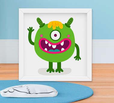 Quadro Decorativo Infantil Bebê Menino Monstrinho Smile