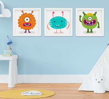 Quadrinho Bebê Infantil Menino Monstro Kit 3 Peças
