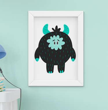 Quadro Decorativo Infantil Bebê Menino Menina Monstro Verde