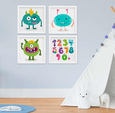 Kit Quadro Infantil Bebê Menino Monstros 4 Peças