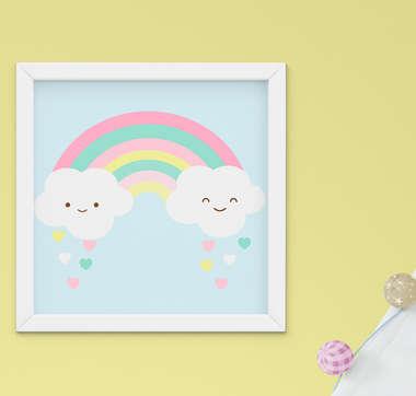 Quadrinho Infantil Bebê Menina Nuvem Arco-Íris