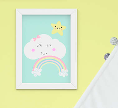Quadro Bebê Infantil Menino Menina Nuvem Estrela Arco-íris