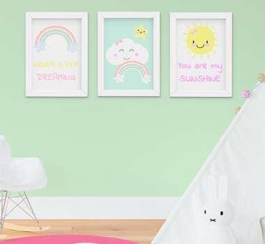Quadro Infantil Quarto Bebê Menina Nuvem e Arco-Íris Kit 3 Peças
