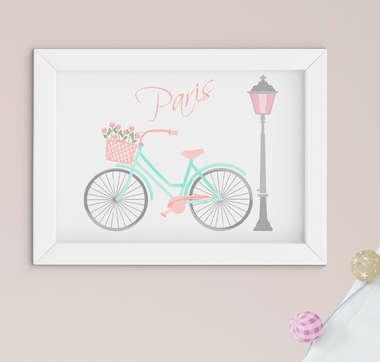 Quadro Infantil Quarto Bebê Menina Paris Bicicleta