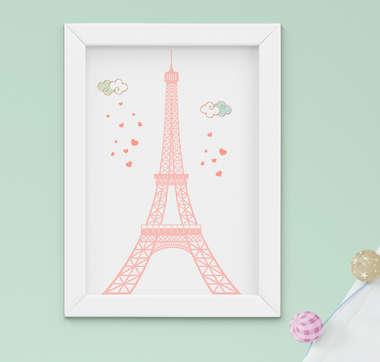 Quadro Bebê Infantil Menina Paris Torre Eiffel