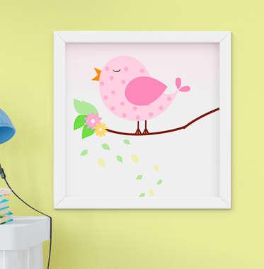 Quadro Decorativo Infantil Bebê Menina Passarinho Rosa