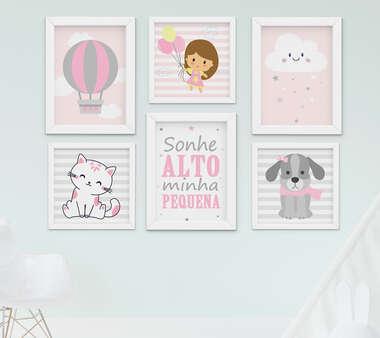 Quadro Infantil Quarto Bebê Menina Gatinha Cachorro Nuvem Kit 6 Peças